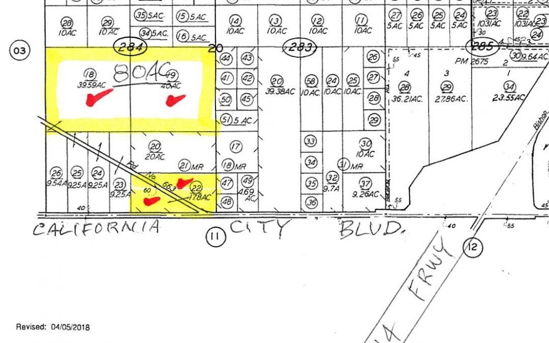 80 acres 0.25 mi North of California City Blvd, 0.75 miles West of the 14 Frwy  and 2 miles north of the 58 frwy, Mojave