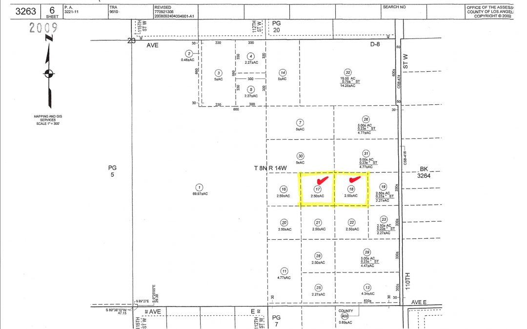 111th St West on Ave D-12, two 2.5 acre (gross) parcels, West Lancaster CA 93536