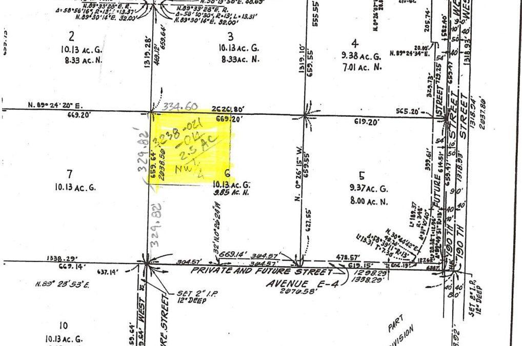 192nd St West at Ave E-2,  2.5 acre parcel  Lancaster, CA 93536