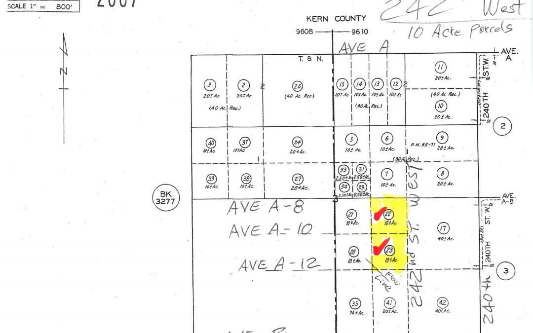 242nd St. West at Ave A-8 two 10 acre parcels, West Lancaster, CA  93536