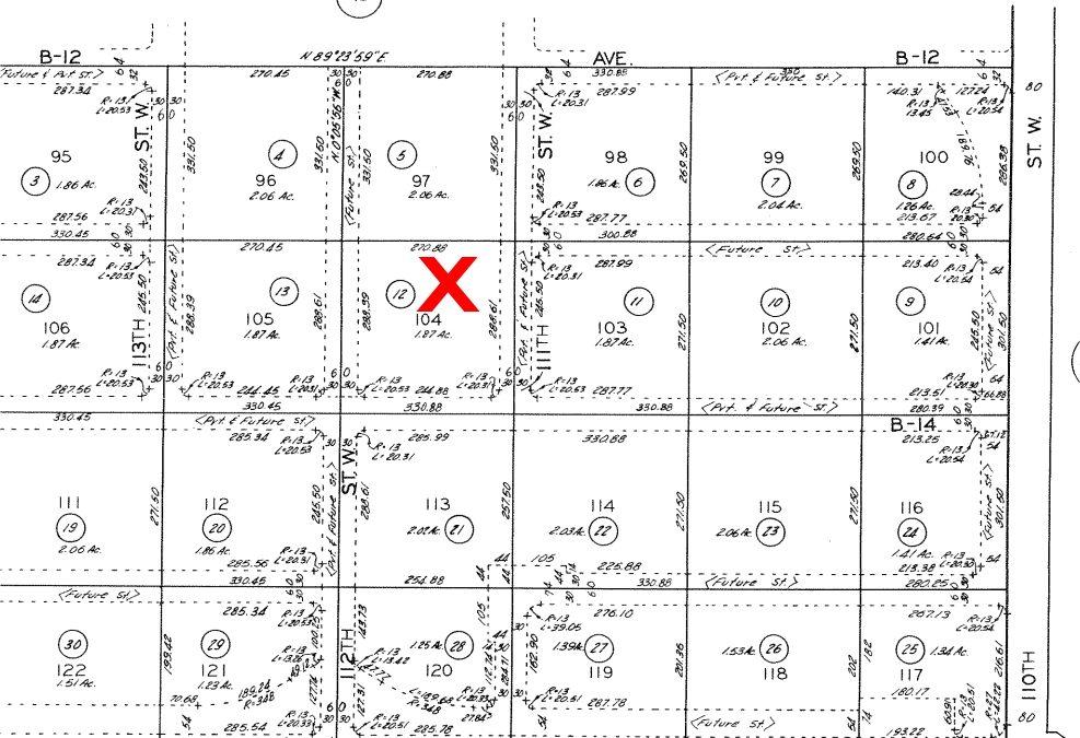 111th St West on Ave B-14, 2.5 Acre (gross) Lot, West Lancaster, CA 93536